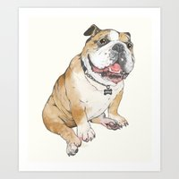 bulldog Art Prints featuring bulldog  by Laura Graves