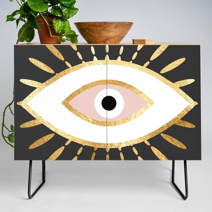 gold_foil_evil_eye_in_blush_Credenza_by_The_Best_Print_Shop__Black__Birch