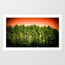 Tall Trees Green Coral Orange Art Print