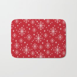 Snowflakes winter christmas minimal holiday red and white decor gifts Bath Mat