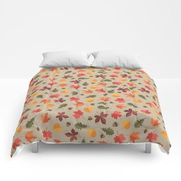 Autumn Leaves Pattern Beige Background Comforters