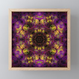 Vibrant delicate spheres kaleidoscope on purple Framed Mini Art Print