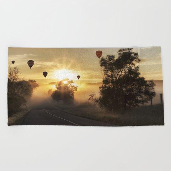 Hot Air Balloons on a Foggy Morning Beach Towel