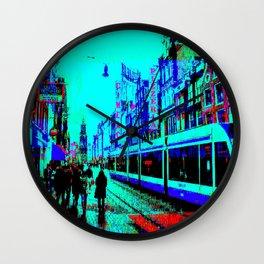 Amsterdam Evening in the Rain Pixelart Wall Clock