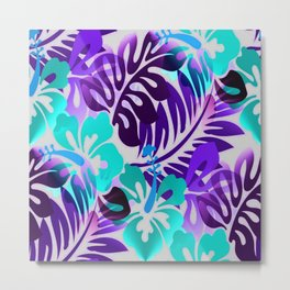 Hawaiian Floral Shirt Pattern Blue Violet Metal Print