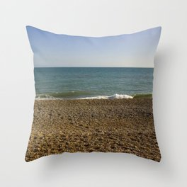 Evening Tide on a cobbled beach Throw Pillow