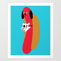 hot dog Art Prints featuring Hot Dog! by heidi kenney