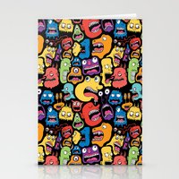 monster Stationery Cards featuring Monster Faces Pattern by Chris Piascik