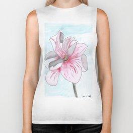 Magnolia Flower watercolor Biker Tank
