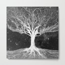 Starry Night Tree of Life Metal Print