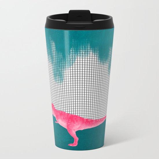 DinoRose - pinky tyrex Metal Travel Mug