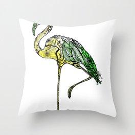 Yellow Flamingo Illustration Throw Pillow