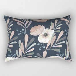 Anemones & Olives blue Rectangular Pillow