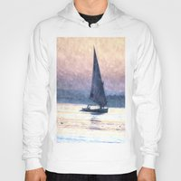 water colour Hoodies featuring Felucca Water Colour by Brian Raggatt