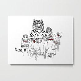 Have a Tiger to Tea Metal Print