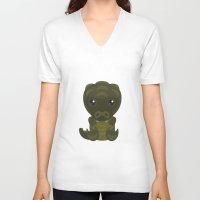 crocodile V-neck T-shirts featuring Crocodile by triduscraft