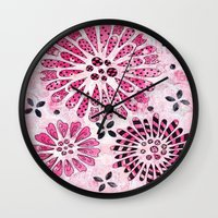 flower pattern Wall Clocks featuring Flower Pattern by Judy Skowron