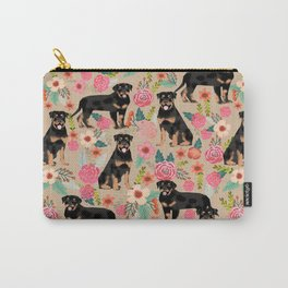 Rottweiler florals cute dog pattern pet friendly dog lover gifts for all dog breeds Carry-All Pouch