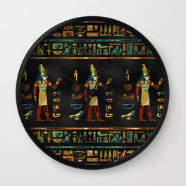 Egyptian  Gold, Teal and Red  glass pattern Wall Clock