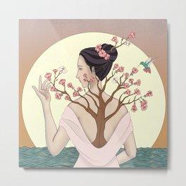 Sunset: Woman - Azalea flower - Hummingbird in front of the Ocean Metal Print