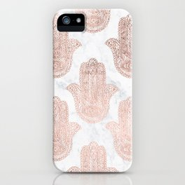 Modern rose gold floral lace hamsa hands white marble illustration pattern iPhone Case