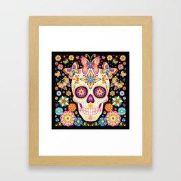 Sugar Skull Art - Sugar Skull with Butterflies and Flowers by Thaneeya McArdle Framed Art Print