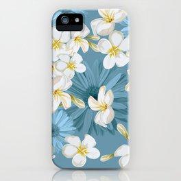 Blue Hawaii - White Plumeria on Blue iPhone Case