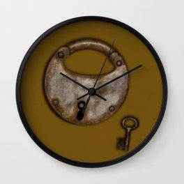 Vintage Padlock & Key on Mustard Wall Clock