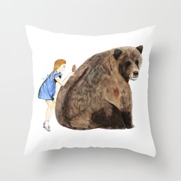 Grizzly Girl Throw Pillow