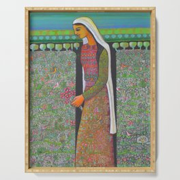 Woman in a Field by Nabil Anani Serving Tray