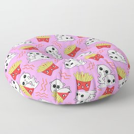 Cute sweet adorable Kawaii playful baby cats, yummy happy funny French fries cartoon light pastel pink pattern design. Kittens and comfort food. Munchies o'clock. Floor Pillow