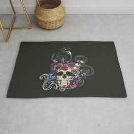 Colorful floral sugar skull with flowers and black raven Rug