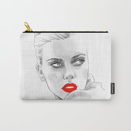 Red lipstick - Scarlett Johansson pencil portrait Carry-All Pouch