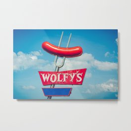 Wolfy's Hotdog Stand Vintage Neon Sign Fork and Sausage Chicago Landmark Metal Print