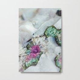 Colorful watermelon tourmaline crystal, macro #society6 Metal Print