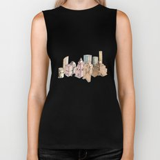 the city painted in pastel colours Biker Tank