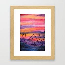 Vivid Sunset - Watercolor Painting Framed Art Print