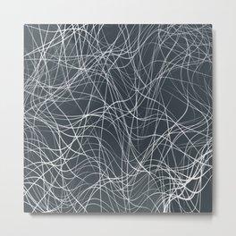 FYKE white string design on dark teal grey background Metal Print