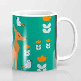 Spring day with fox and birds Coffee Mug