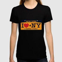 I love NY New York Car Licence Plate T-shirt