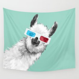 Sneaky Llama with 3D Glasses #01 Wall Tapestry