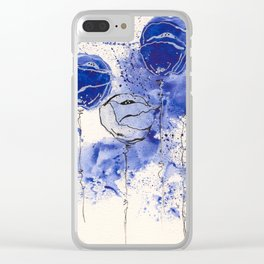 Blue and White Splotch Flowers Clear iPhone Case