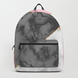 Pink and Grey Marble with Gold Crackle Backpack