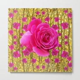 "FUCHSIA PINK ""ROSES & THORNS""  GOLD ART  ROSE  PATTERNS Metal Print"
