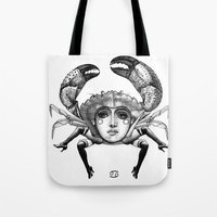 cancer Tote Bags featuring Cancer by Carolina Espinosa