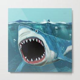 Shark Nautical Ocean Blue Metal Print