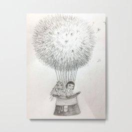 Alice & Amelie Dandelion Hotair Balloon Metal Print