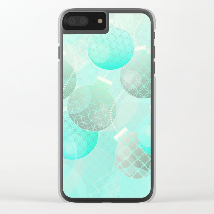 Silver and Mint Blue Christmas Ornaments Clear iPhone Case