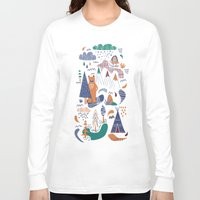 camp Long Sleeve T-shirts featuring Bear camp by Demi Goutte