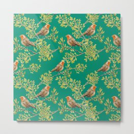 Red Robin & Emerald Green Pattern Metal Print